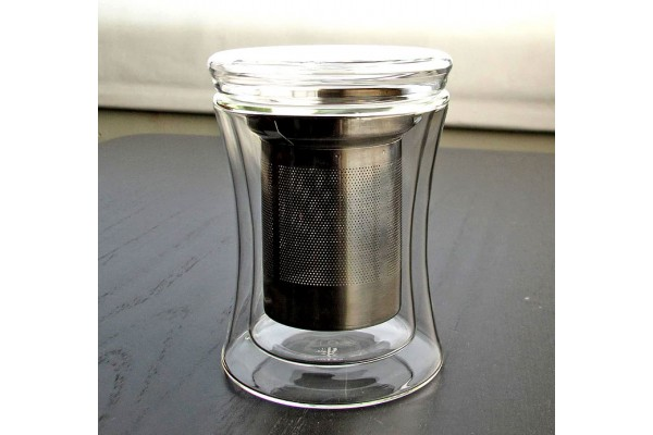 Tryeh Glass Mug - Double Walled with Strainer